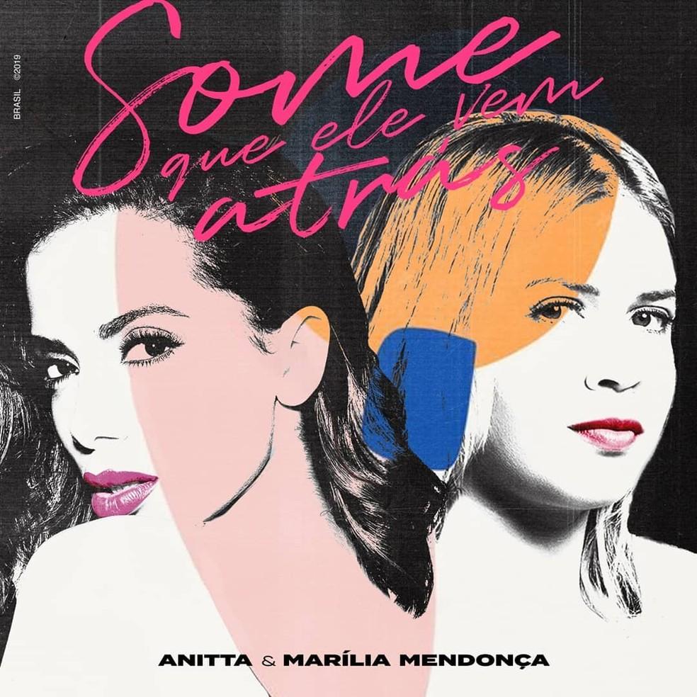 Capa do single 'Some que ele vem atrás', de Anitta & Marília Mendonça — Foto: Reprodução / Instagram Anitta / Instagram Marília Mendonça