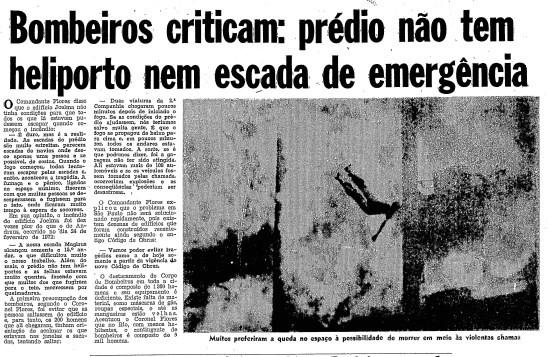 Página do GLOBO de 2 de fevereiro de 1974 destaca problemas no prédio