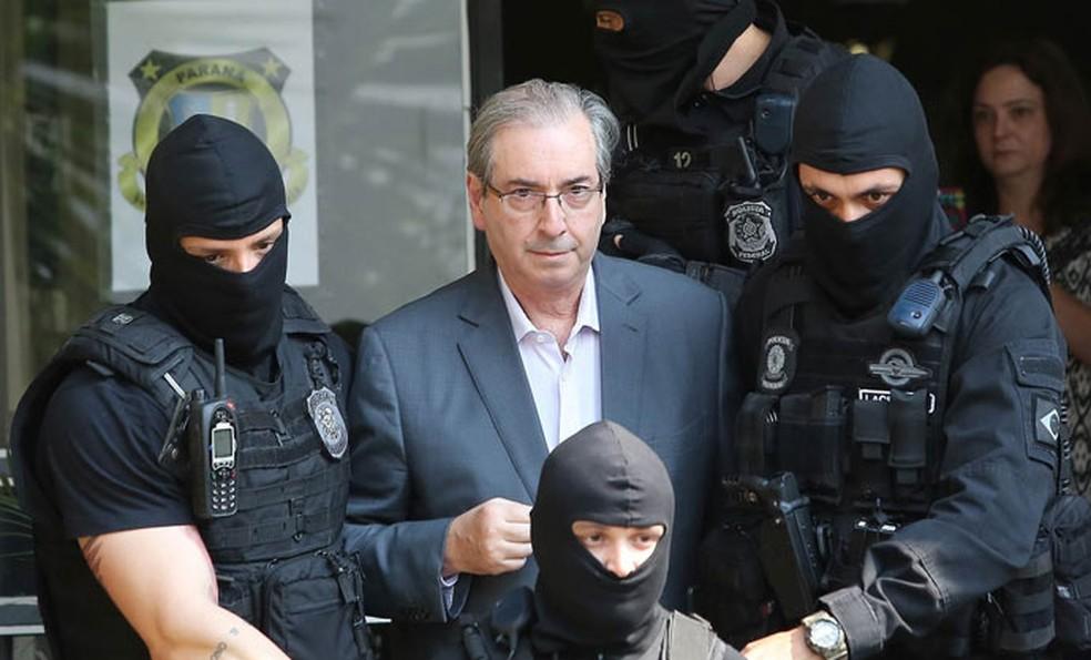 Ex-deputado Eduardo Cunha quando foi preso, em 2016 — Foto: Giuliano Gomes/PR Press