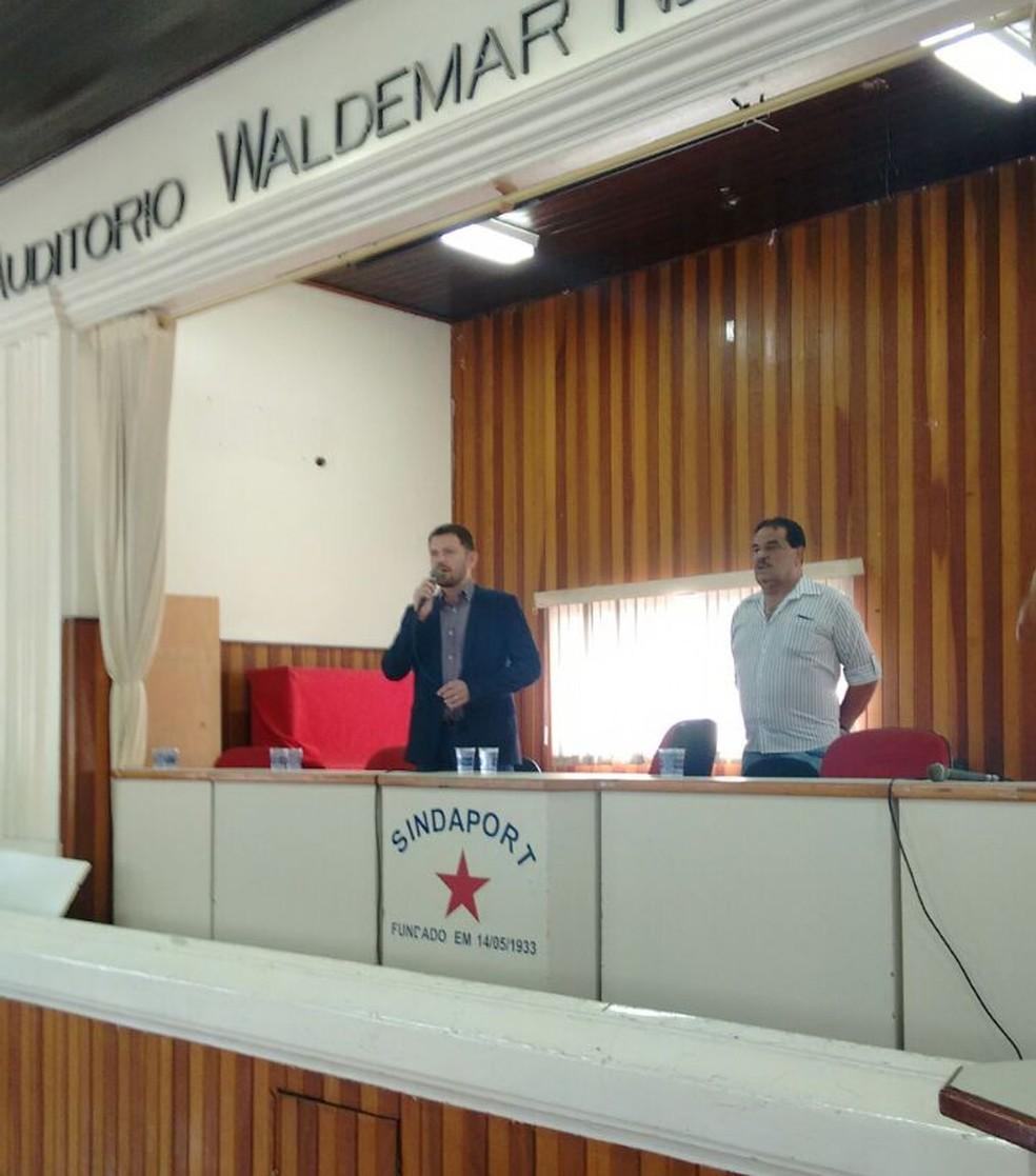 Representantes do Portus apresentam novas normas do Portus (Foto: Divulgação/Sindaport)