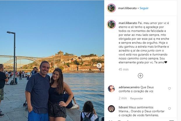 Marina Liberato se despede do pai (Foto: Reprodução Instagram)