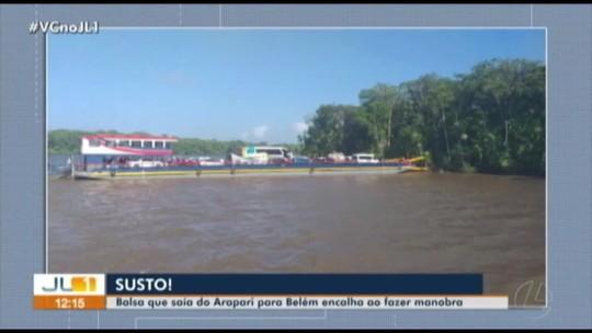 Balsa com destino a Belém encalha ao tentar fazer manobra em Ararapi, em Barcarena
