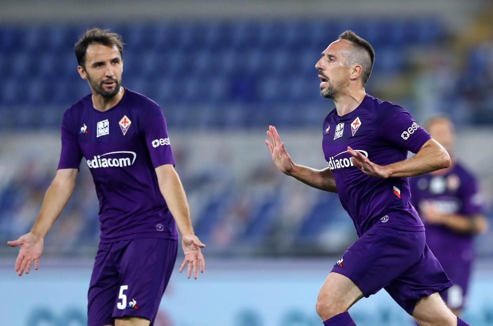 Ribéry abriu o placar para a Fiorentina contra a Lazio — Foto: Getty Images