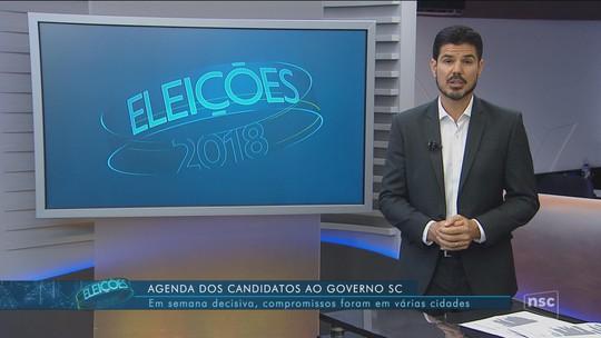 Veja a agenda dos candidatos ao governo de SC nesta segunda-feira (1º)