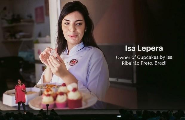 Isabela Lepera, fundadora da Cupcakes by Isa, foi destaque na conferência F8, do Facebook (Foto: Reprodução)