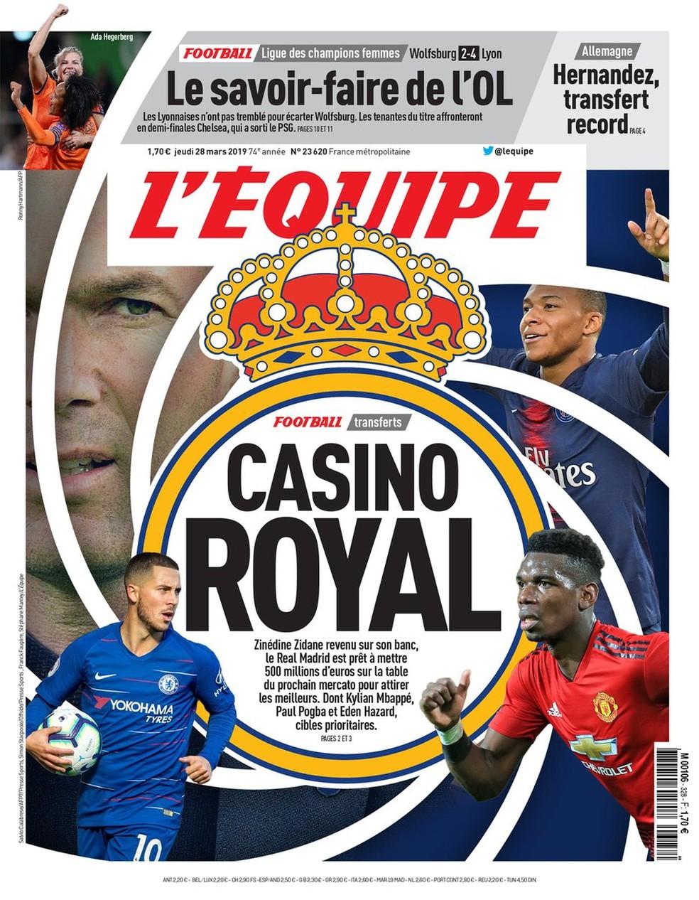 """""""Casino Royal"""": capa do L'Equipe traz plano do Real Madrid para a próxima temporada — Foto: Reprodução/L'Equipe"""