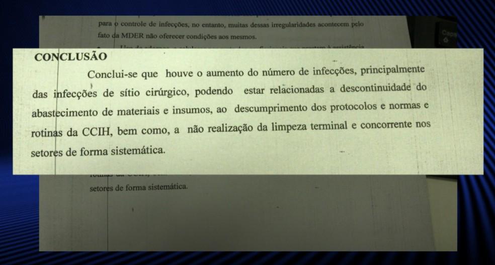 O relatório conclui que houve aumento do número de infeccções, principalmente no centro cirúrgico.  (Foto: Foto: Reprodução/ TV Clube)