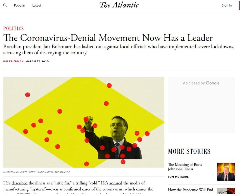 Texto da 'The Atlantic' em que Bolsonaro é chamado de líder de movimento negacionista — Foto: Reprodução