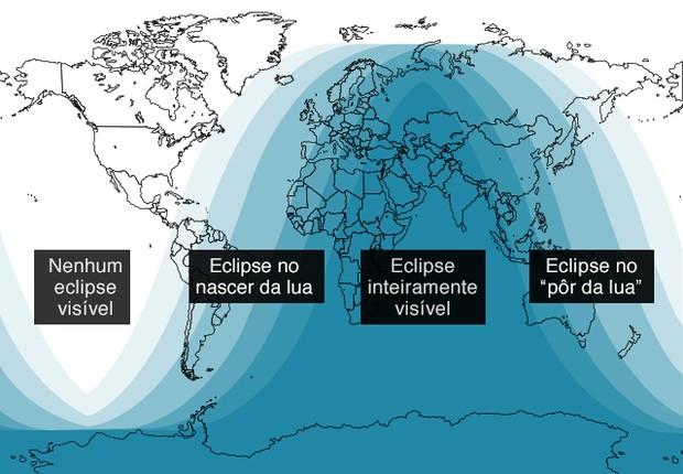 Lugares onde o eclipse lunar será visível (Foto: BBC)