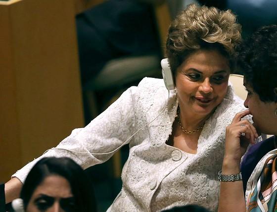 Dilma em uma sessão da ONU em 2016. Ela fala portunhol fluente (Foto: SPENCER PLATT/GETTY IMAGES)