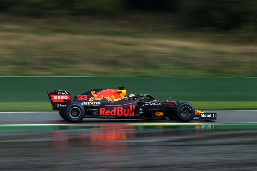 Max Verstappen, da RBR, na classificação do GP da Bélgica — Foto: Lars Baron/Getty Images