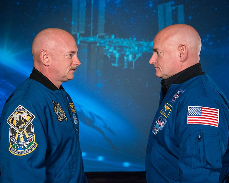Os astronautas gêmeos Mark e Scott Kelly (Foto: NASA/Robert Markowitz/Wikimedia Commons)