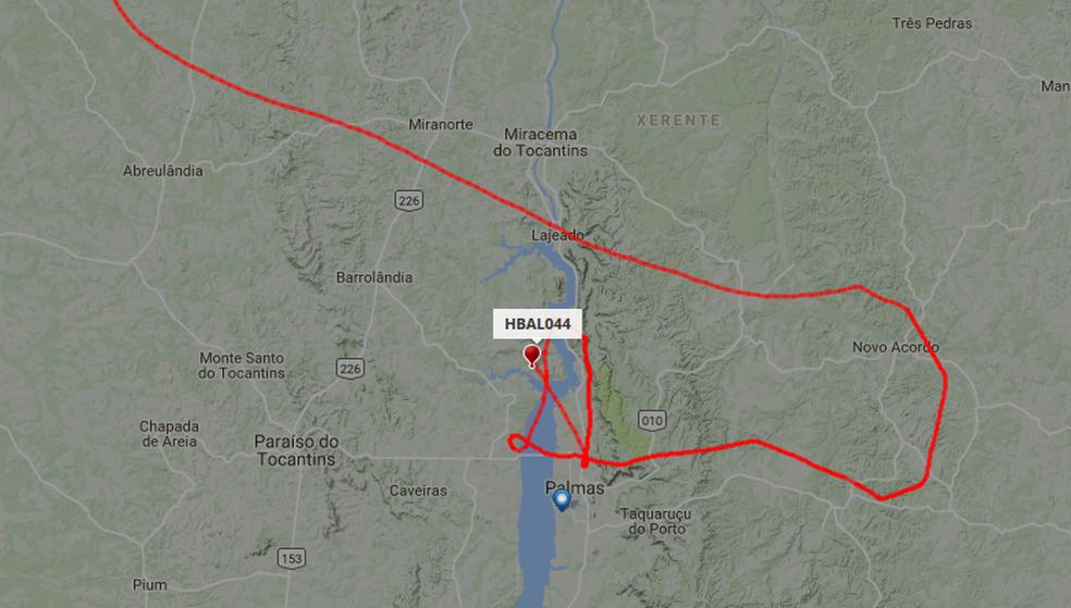 Trajeto feito pelo balão do Projeto Loon em Palmas (Foto: Flightradar24/Reprodução)