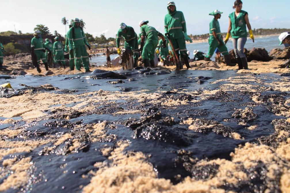 Imagem de segunda (21) mostra voluntários e equipes da prefeitura do Cabo trabalhando para retirar manchas de óleo de trecho entre as praias de Itapuama e Pedra do Xaréu — Foto: Pedro de Paula/Fotoarena via Estadão Conteúdo