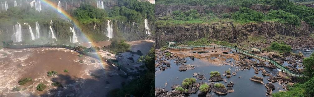 Primeira imagem mostra Cataratas com a vazão acima da média, e segunda foto com um dos menores volumes de água do ano — Foto: Marcos Landim e Cassiano Rolim/RPC