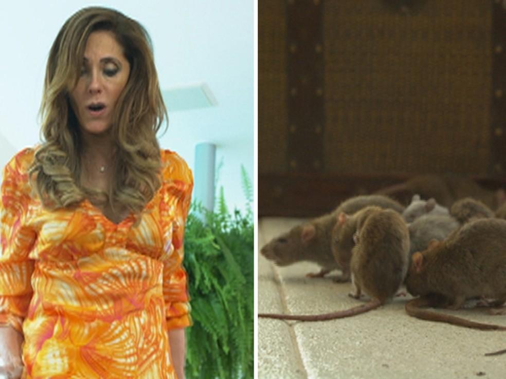 Griselda se vinga e prende Tereza Cristina em sauna cheia de ratos — Foto: Globo