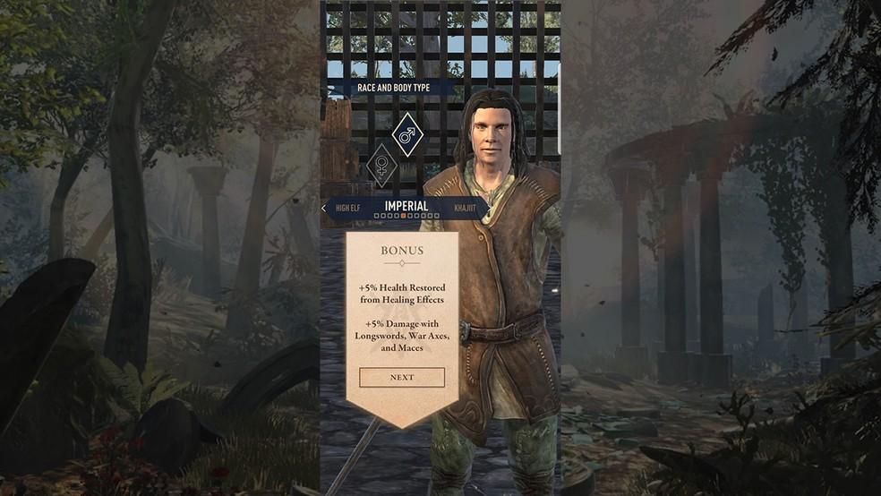 Crie seu personagem no The Elder Scrolls: Blades — Foto: Reprodução/Murilo Molina