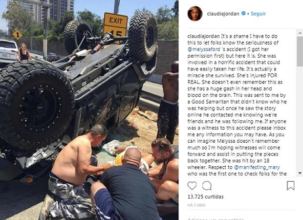Melyssa Jordan sofre grave acidente de carro nos EUA (Foto: Reprodução/Instagram)