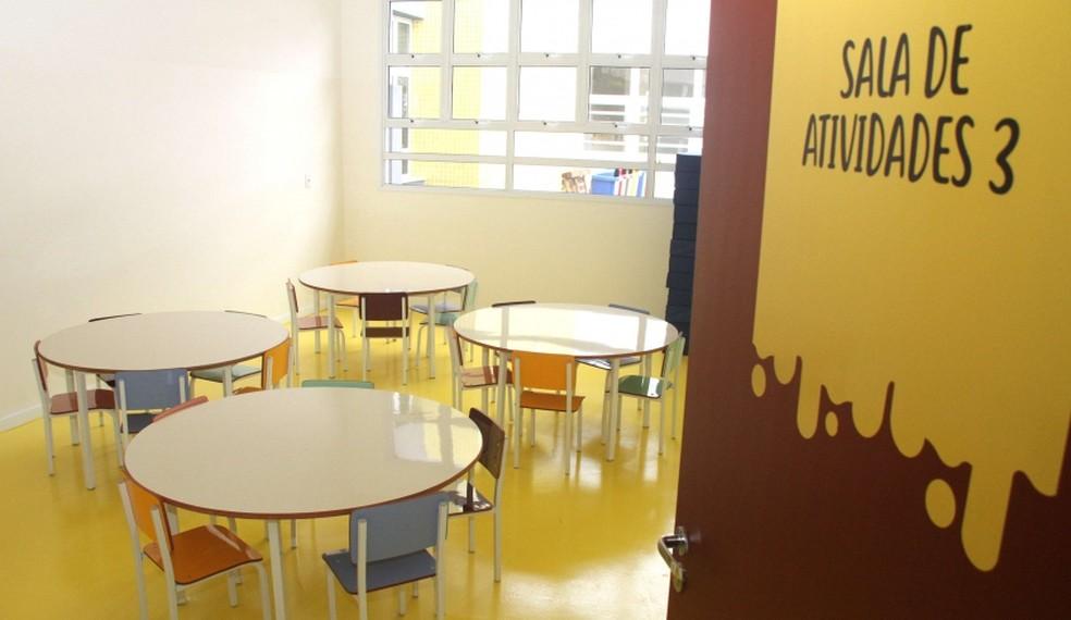 Sala de creche em Mogi das Cruzes: cidade recebe os estudantes de forma híbrida, com aulas presenciais e remotas — Foto: Divulgação/PMMC