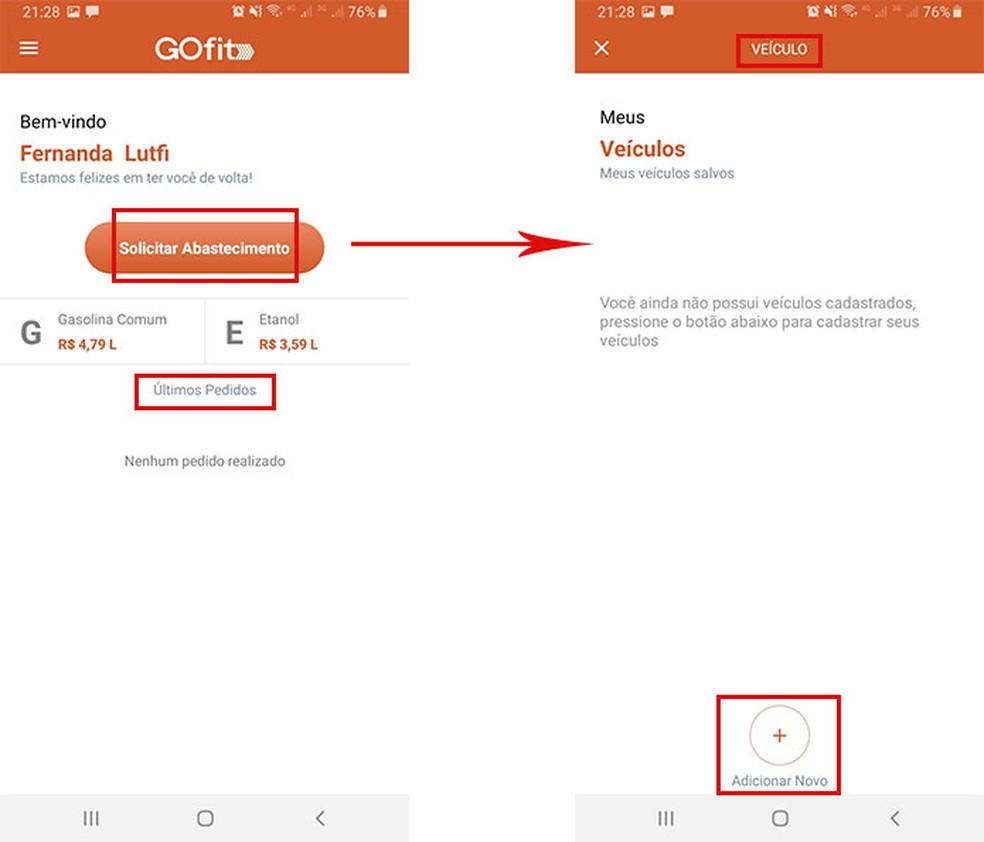 GOfit permite cadastrar até cinco veículos — Foto: Reprodução/Fernanda Lutfi