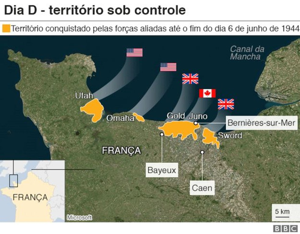 Dia D - território sob controle — Foto: BBC