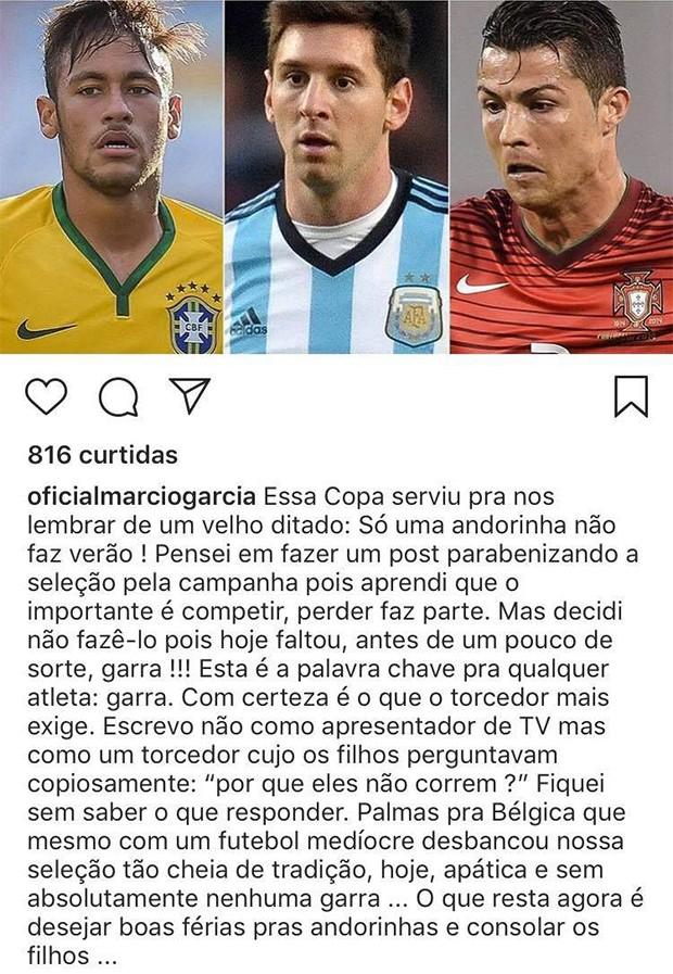 Famosos lamentam a saída do Brasil na Copa do Mundo (Foto: Reprodução/ Instagram)