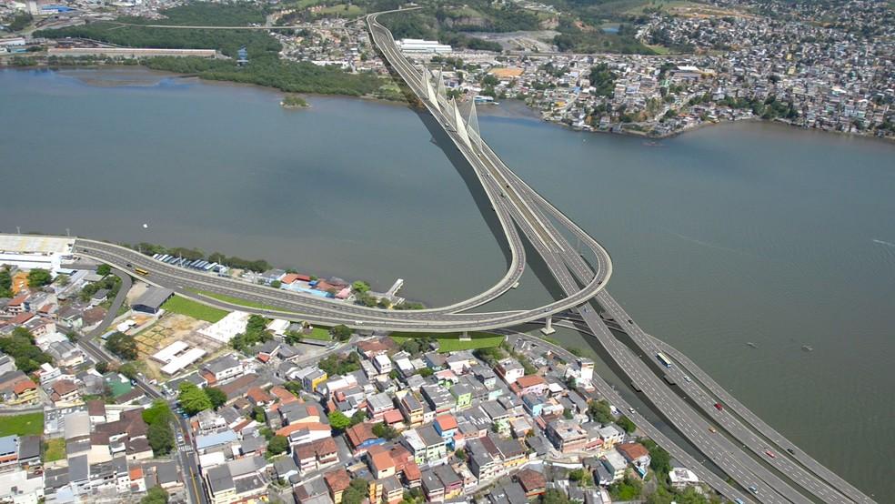 Projeto da Quarta Ponte, que ligaria Vitória a Cariacica — Foto: Divulgação / Governo do Espírito Santo