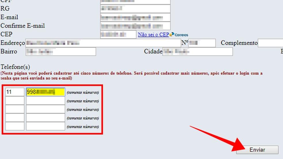 Informe números de celular com bloqueio de recebimento de ligações de telemarketing — Foto: Reprodução/Paulo Alves