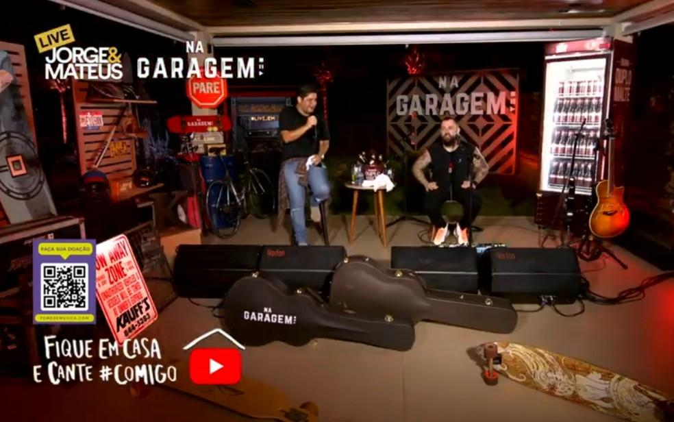 Durante a primeira live, Jorge e Mateus atingiram 3 milhões de visualizações, em Goiânia, Goiás — Foto: Reprodução/Youtube