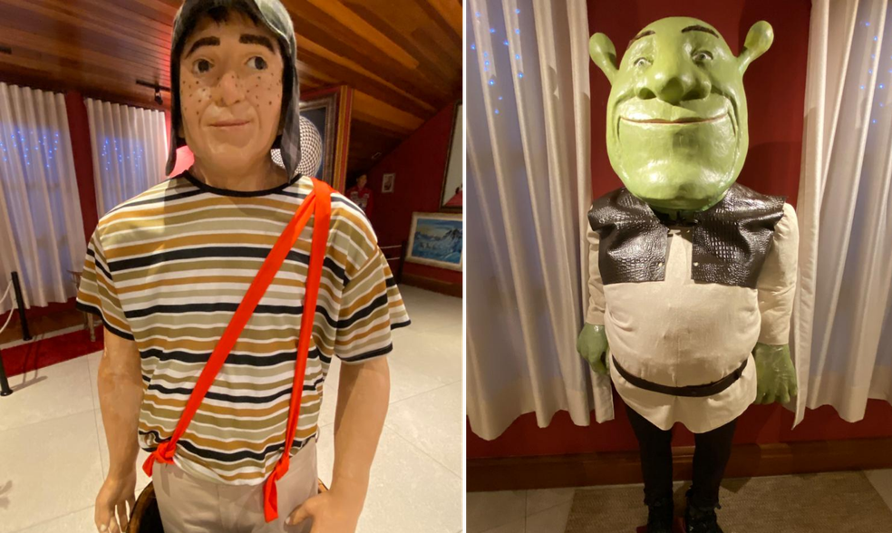 Chaves e Shrek também viraram réplicas no museu do empresário de Rolândia — Foto: Arlindo Armacollo/Arquivo pessoal