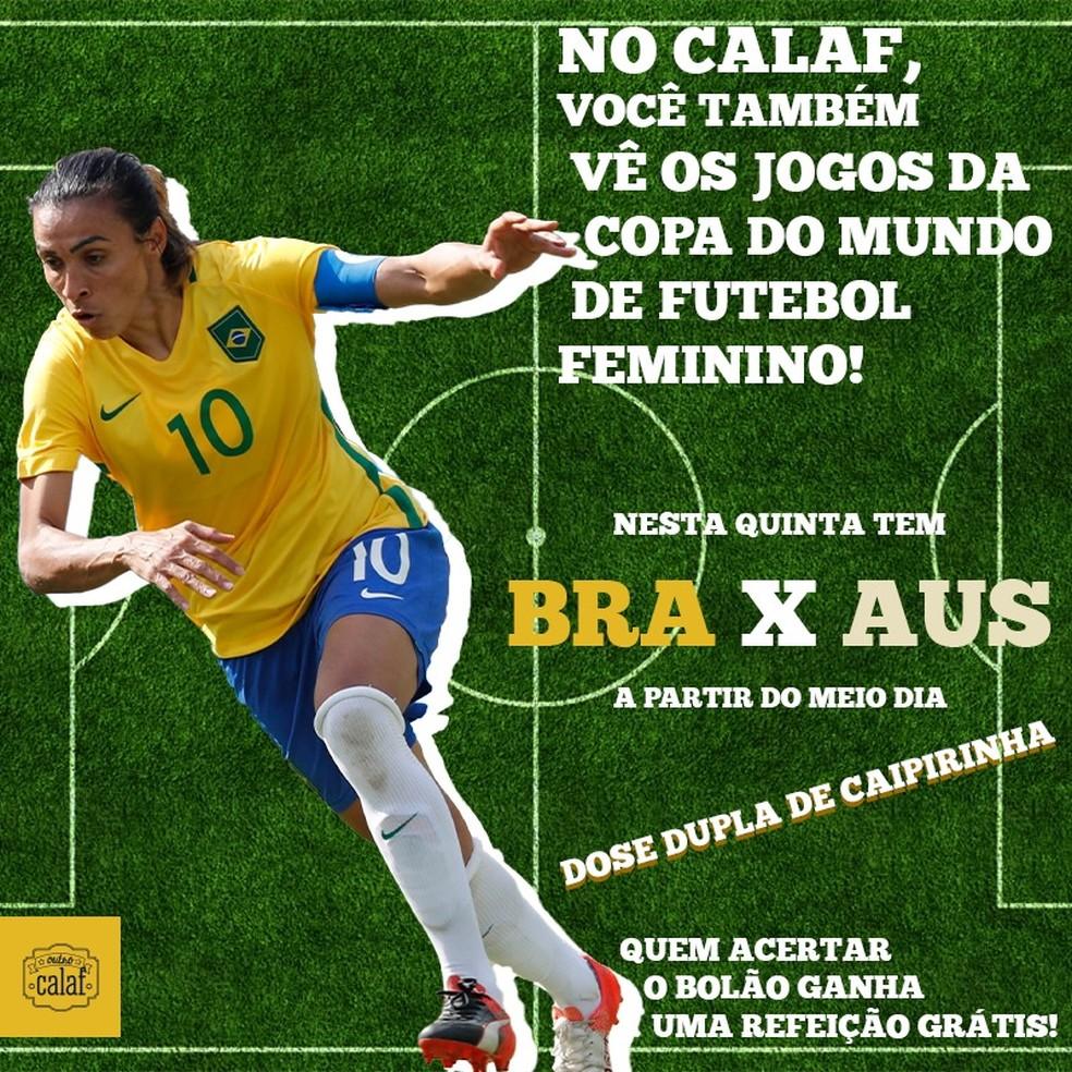 Outro Calaf realiza bolão durante transmissão da copa do mundo feminina — Foto: Reprodução/Facebook