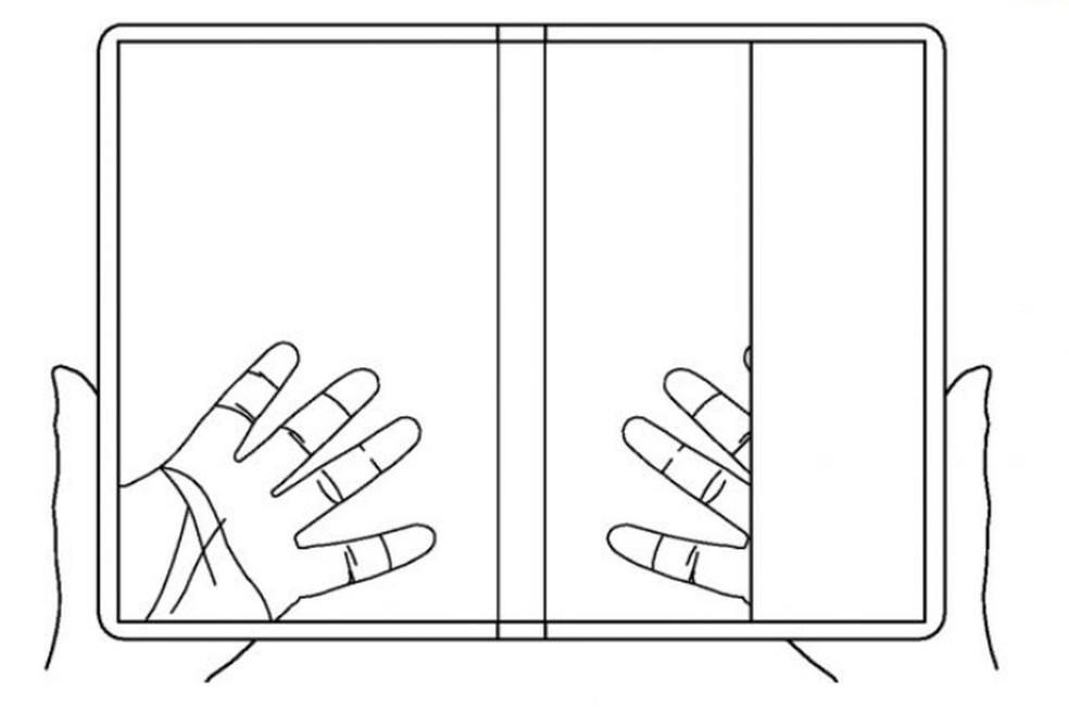 Smartphone dobrável e transparente da LG em formato tablet — Foto: Reprodução/LG (USPTO)
