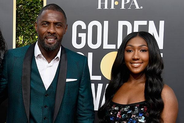 Idris Elba e a filha, Isan, embaixadora do Globo de Ouro 2019 (Foto: getty)