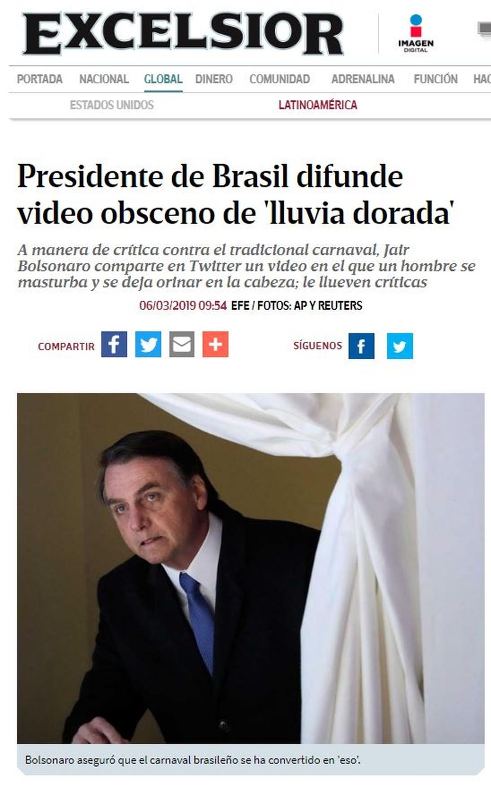 Jornal mexicano 'Excelsior' também noticiou o caso dos tuítes de Bolsonaro — Foto: Reprodução/El Excelsior
