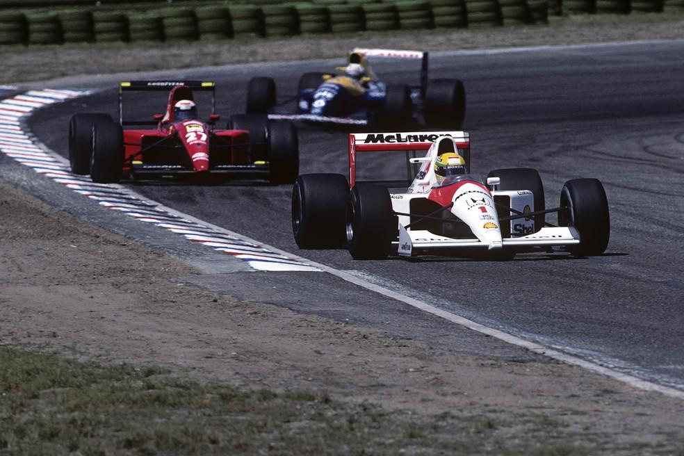 Senna e Prost pouco antes de incidente no GP da Alemanha de 1991 — Foto: Getty Images