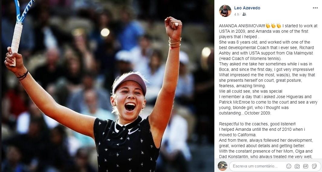 Leo Azevedo homenageia Anisimova nas redes sociais