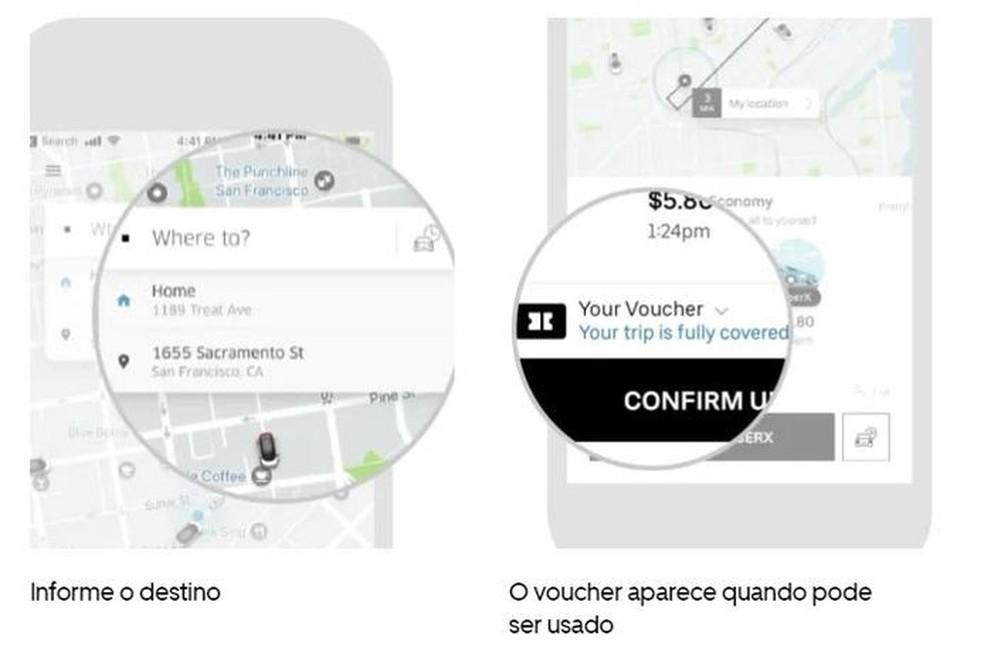 Cortesia da empresa aparece ao solicitar uma viagem válida — Foto: Divulgação/Uber