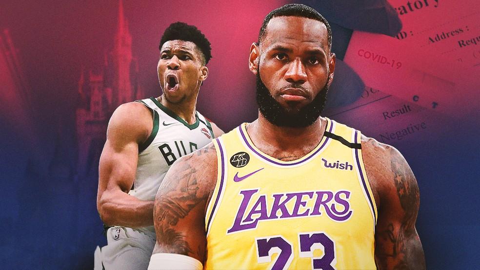 Giannis e Lebron são dois dos protagonistas da retomada da NBA em Orlando — Foto: Arte GloboEsporte.com