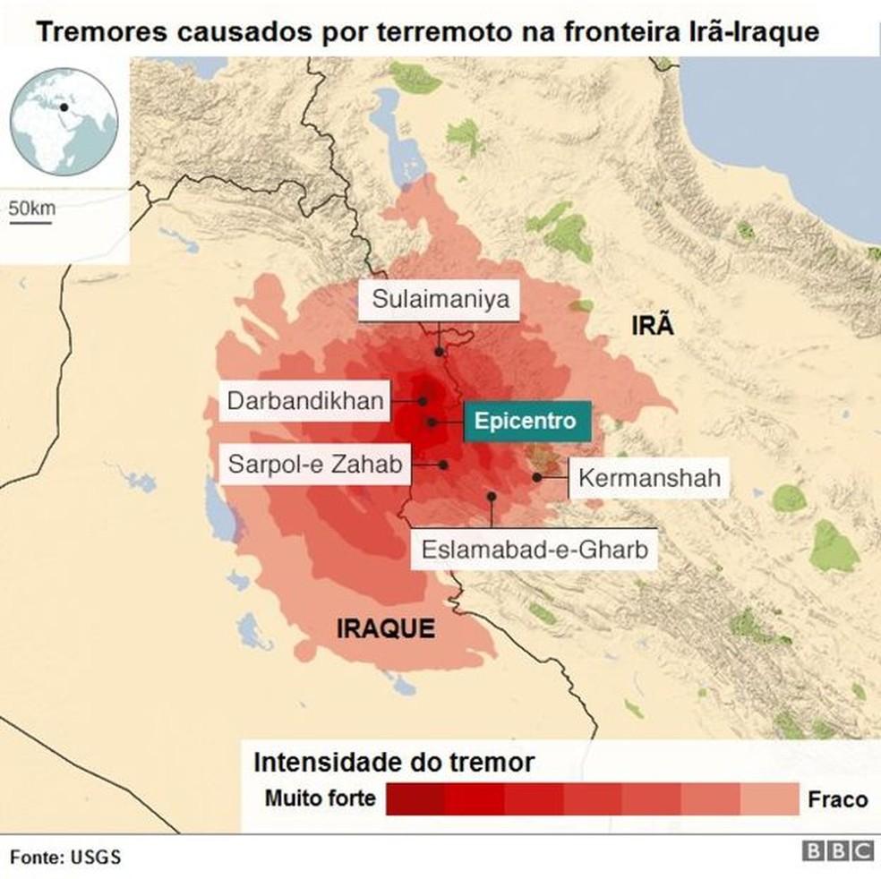 Tremores causados por terremoto na fronteira Irã-Iraque (Foto: BBC)