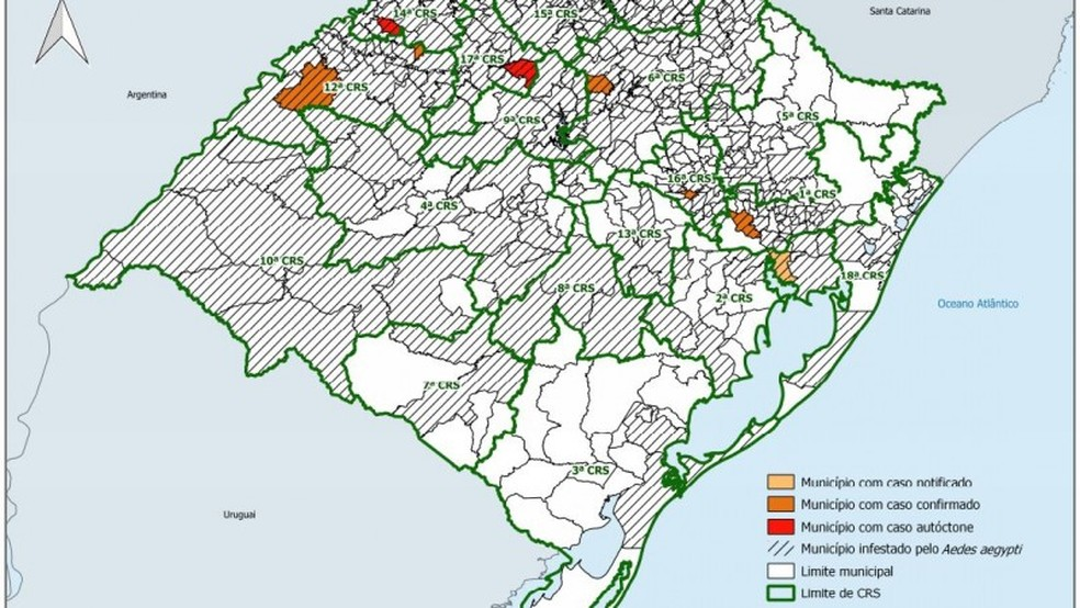 Mapa divulgado antes dos dois novos casos de dengue confirmados nesta sexta(8). — Foto: Divulgação/SES