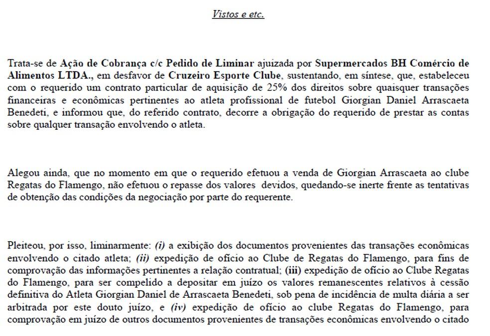 """Juíza da 1ª Vara Cível de BH intima Flamengo a depositar valores """"em aberto"""" da compra de Arrascaeta em juízo — Foto: Reprodução"""