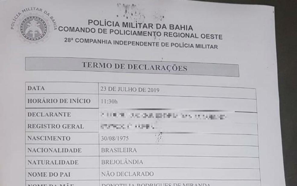 Depois de ser registrado na Corregedoria da Polícia Militar, caso também foi registrado na CIPM de Ibotirama — Foto: Arquivo pessoal