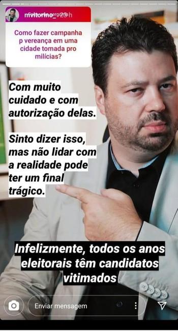 Marcelo Vitorino responde seguidores sobre milícias