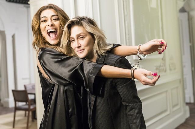 Juliana Paes e Amora Mautner nos bastidores de 'A dona do pedaço' (Foto: Rede Globo / João Miguel)