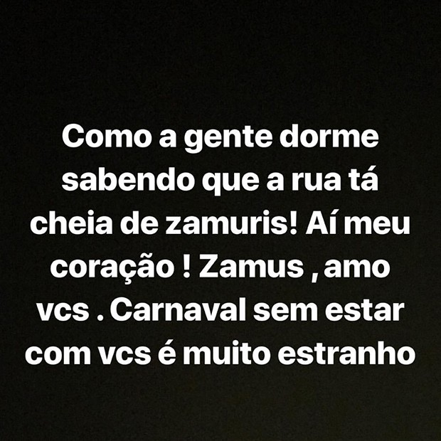 Ivete lamenta a ausência no Carnaval 2018 (Foto: Reprodução/ Instagram)