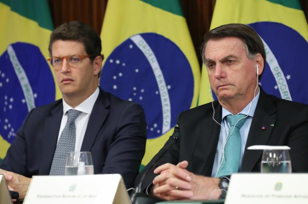 Presidente Jair Bolsonaro participa da Cúpula de Líderes sobre o Clima acompanhado do ministro Ricardo Salles (Meio Ambiente) — Foto: Marcos Corrêa/PR