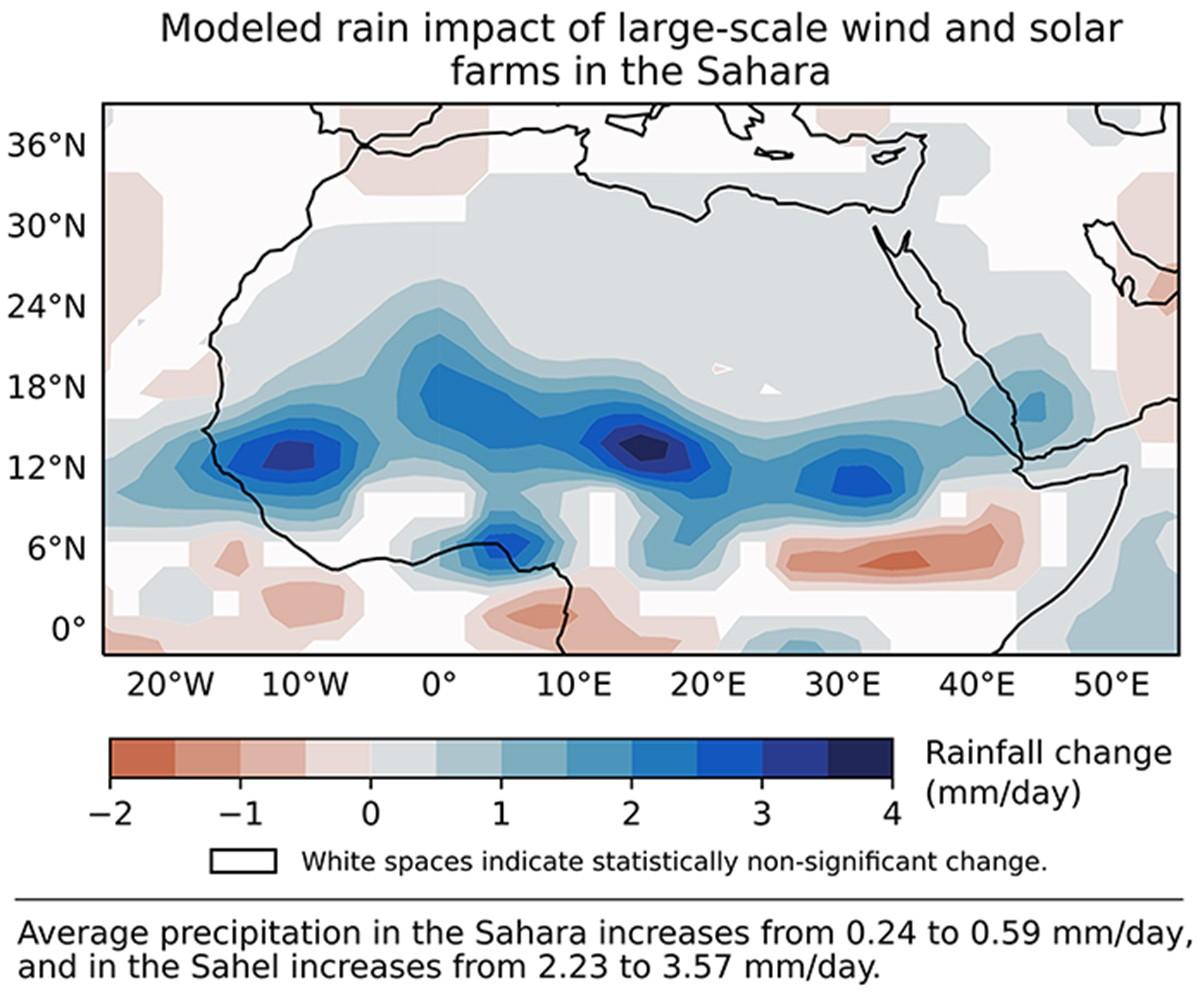 Manchas azuis representam um aumento na precipitação. (Foto: illinois.edu)