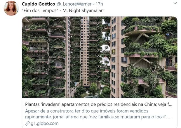 Paisagismo dá errado em condomínio chinês e local fica coberto de vegetação; veja os memes (Foto: Reprodução / Twitter)