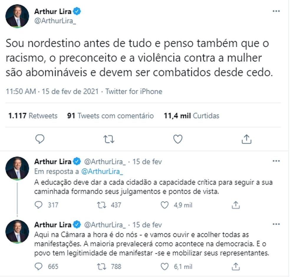 Presidente da Câmara dos Deputados, Arthur Lira afirma que vai 'ouvir e acolher todas as manifestações' sobre o PNLD. — Foto: Reprodução/Twitter