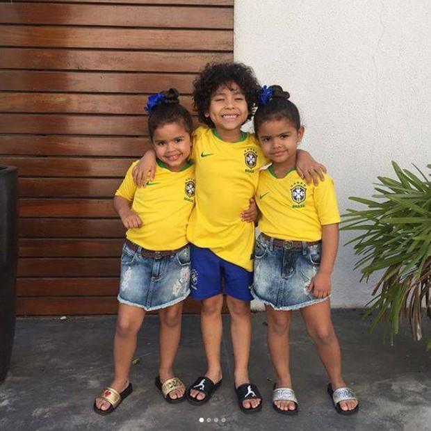 Os filhos de Dentino e Dani Souza: Rafaella, Bruno Lucas e Sophia (Foto: Reprodução Instagram)